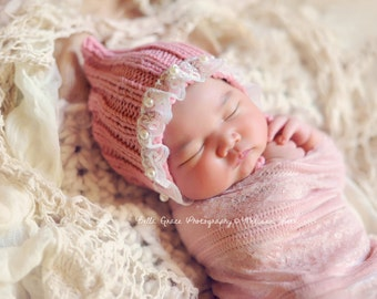 Rose Pink Lace Pearl Cotton Knit Baby Bonnet Newborn Photography Prop