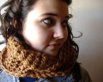 Cowl Neckwarmer Infinity Scarf Wrap in Hazelnut Brown