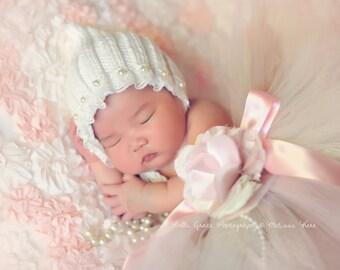 Cream Lace Pearl Cotton Knit Baby Bonnet Newborn Photography Prop