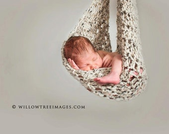 Newborn Hammock Pod Photo Prop in Beige Oatmeal