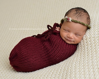 Burgundy Red Swaddle Sack Newborn Baby Photography Prop