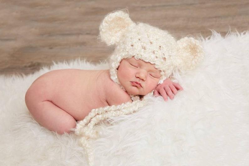 f0d00063 Cream Earflap Beanie Teddy Bear Hat Newborn Photography