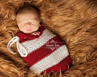 Red and Cream Swaddle Sack Newborn Baby Photography Prop