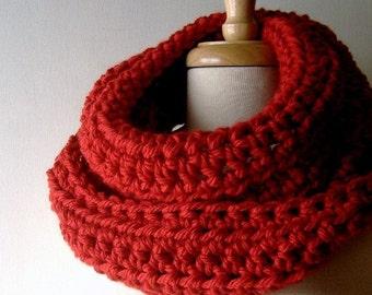 Cowl Neckwarmer Infinity Scarf Wrap in Brick Red