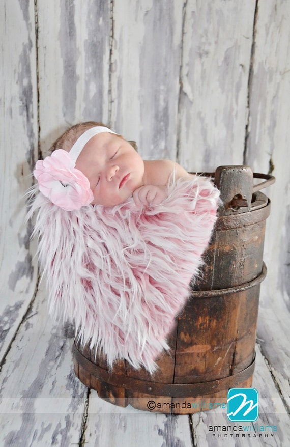 Pink Mongolian Faux Fur Photo Prop Newborn Nest 18 x 30 Inches Photography