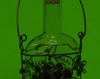 "Glass Corked Bottle Encased In Silver Colored Wire~Grapes~Leaves~Patina~6 1/2"" Tall"