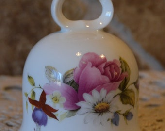 "Lovely Summer Rose Bell~Fine Bone China~About 3 3/4"" Tall"