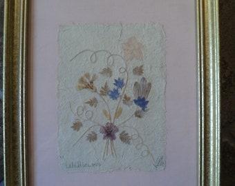 "Beautiful Framed Wildflowers~1996~Signed Art On Handmade Paper~8.5"" x 10.5"""