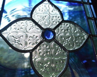 Stained Glass Panel Flower Design w Blue Baroque and Morisco Glass