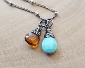 Any 2 birthstone necklace. Gold or Silver. Personalized Birthstone jewelry. Turquoise Citrine. Birthstone Pendant. Charm. Mother's day gift