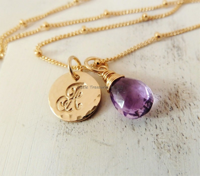 Amethyst Pendant with Initial February Birthstone Gift for Her Personalized February Birthday Jewelry Purple Silver Amethyst Necklace