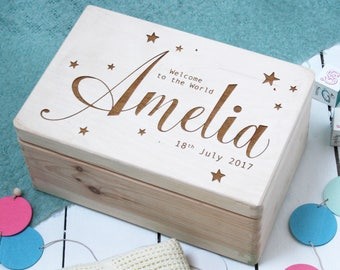 Pale Blue Large Personalized Memory Box Baby Birth.Christening Gift...