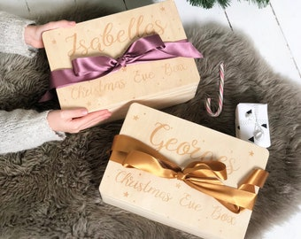 Personalised Ribbon And Name Christmas Eve Box | Christmas Box | Family Christmas Eve | Wooden Box | Christmas Gifts | Laser Engraved