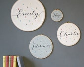Personalised Baby Name Hoop | New Baby Gift | New Parent Gift | New Born | Fabric Hoop | Christening Present | Gifts under 20 | Wooden Hoop