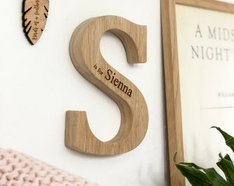 Personalised New Baby Raw Oak Letter | New Baby Or Christening Gift | Laser Engraved | Baby Name sign | Wooden keepsake | Worldwide Shipping