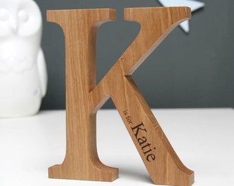 Personalised Oak Letter   Solid Wood   Christening & New Baby Gift   Gifts under 25   Laser Engraved   Nursery Decor   Birth Details