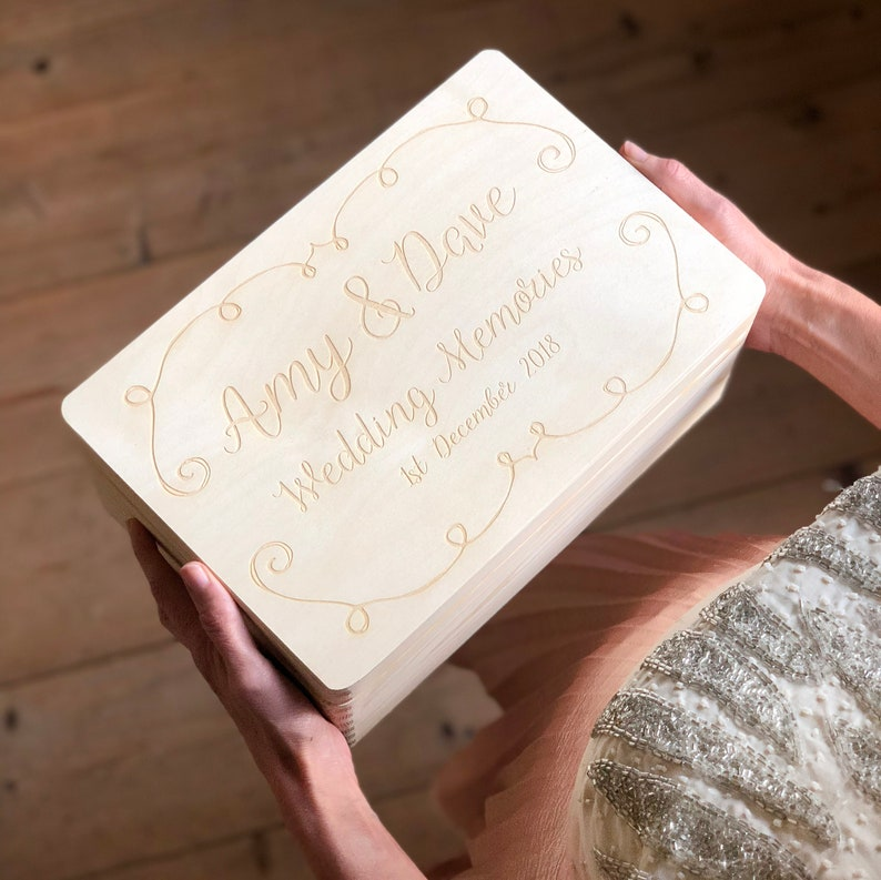 Personalised Wedding Keepsake Box Laser Engraved Wooden Box Wedding Gifts Worldwide Shipping