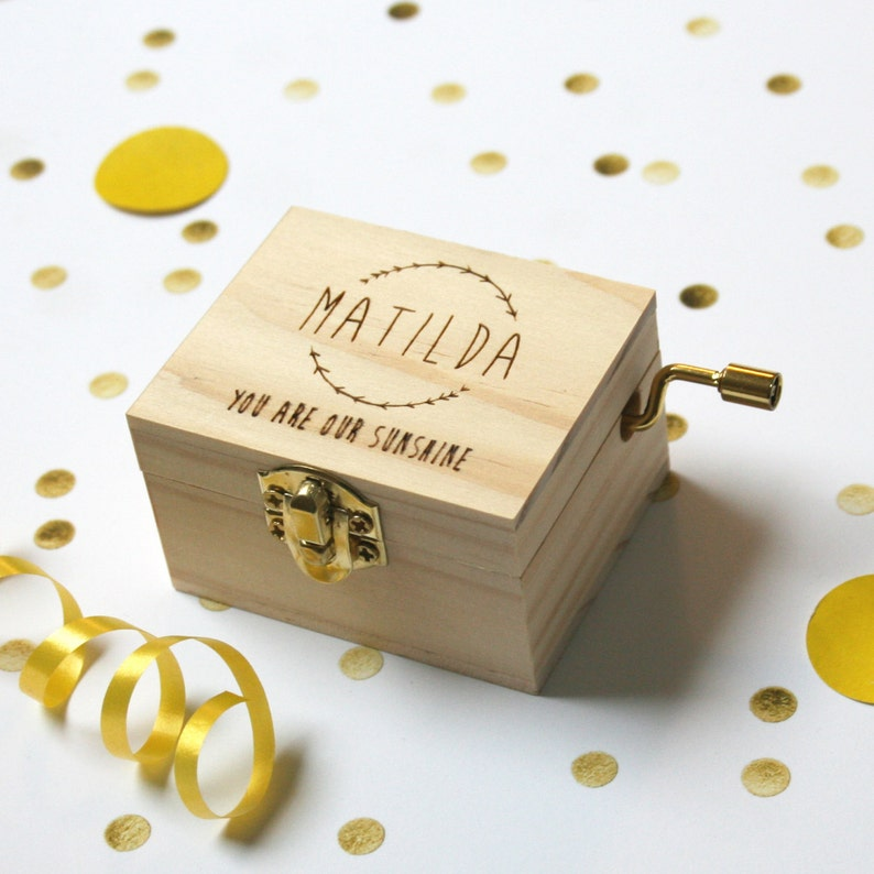 Personalised Music Box  Pine Laser Cut   New Baby Gift Or image 0