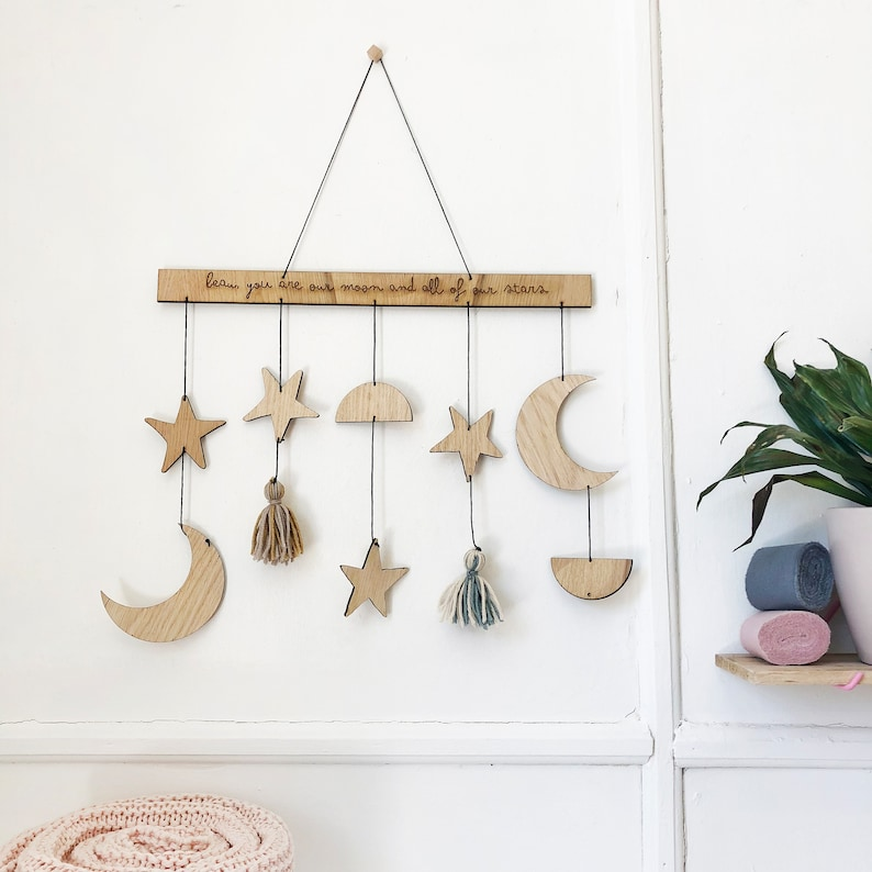 Personalised Star Moon And Tassel Wall Hanging Geometric  e6e6e3ad96398