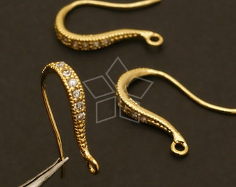SI-041-GD / 2 Pcs - Shapely Stone Hook Ear Wires, 16K Gold Vermeil over .925 Sterling Silver / 19mm