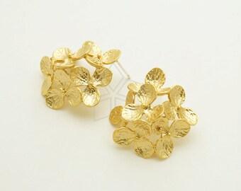 8.6mm x 14.8mm Sterling Silver CZ Cubic Zirconia 2-Flower Post Earrings