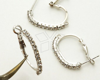 SI-566-OR / 2 Pcs - Oval Rhinestone Hoop Earring Findings, Silver Plated over Brass with .925 Sterling Silver Post / 17mm x 24mm