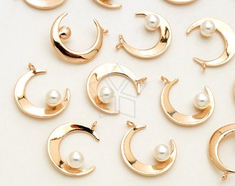 Crescent Moon and White Pearl Charms PD-2521-RG  2 Pcs Rose Gold Plated over Brass  13mm Tiny Pearl and Eclipse Pendant