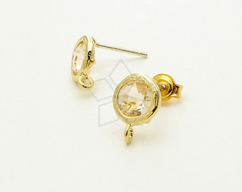 SI-562-GD / 2 Pcs - Tiny Bezel Round Cut Stud Earrings (Champagne), 16K Gold Plated, with .925 Sterling Silver Post / 7.6mm