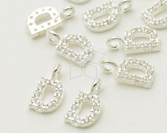 925 Sterling Silver  3mm IN-563-SS  2 Pcs Initial Tag Mini Letter Charm Tiny Initial Circle Charm Upper case D