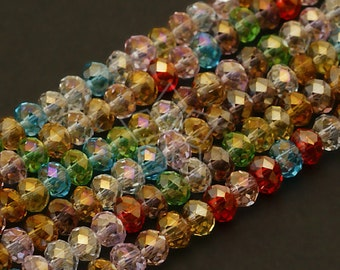 6mm Clear Crystal Faceted Rondelle Beads 105-110 per strand
