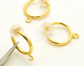 EA-278-GD   6 Pcs - Non Pierced Spring Clip Earring Finding with Silicon  Rubber Pads for Comfortable Fit a6570e57158d