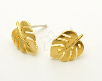 SI-105-MG / 2 Pcs - Monstera Foliage Stud Earrings, Tropical Leaf Ear Posts, Matte Gold Plated, with 925 Sterling Silver Post / 9mm x 12mm