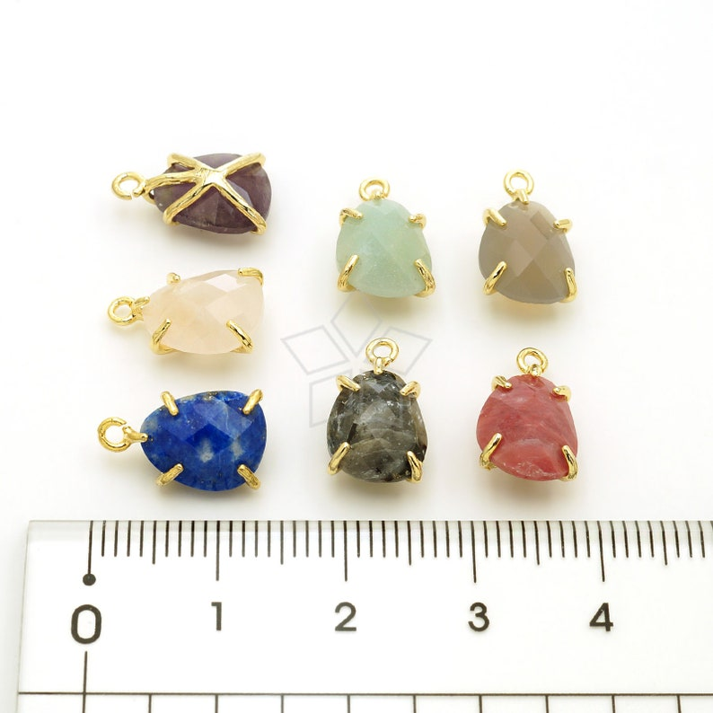 Rose Quartz Gemstone Pendant wih Gold Plated Setting  8mm x 13mm PD-3265-GD  2 Pcs Natural Stone Faceted Pear Cut Drop Charm