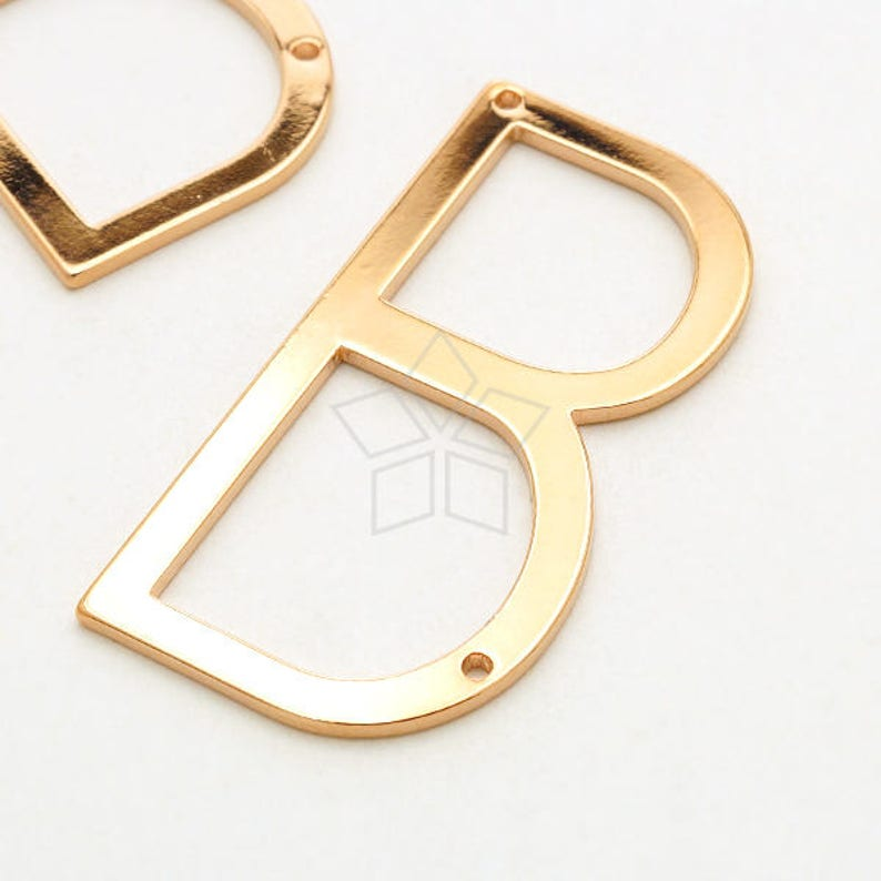 IN-751-RG  1 Pcs Large Letter Pendant Sideways Large Initial Pendant for Necklace Upper case Rose Plated Brass  18mm x 35mm B