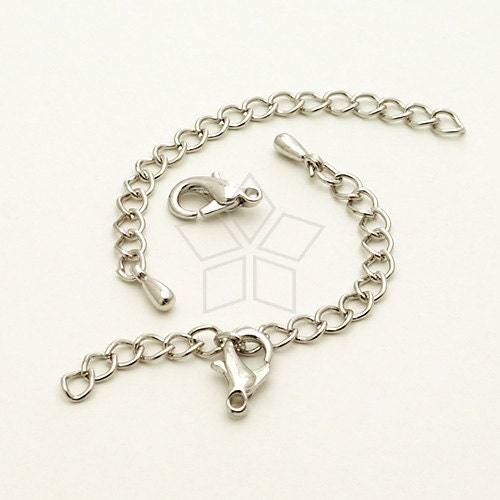 SL-015-OR / 10 set - Extender Chains with a Lobster Clasp for Chain Necklace, Silver (Rhodium) Plated / 50mm