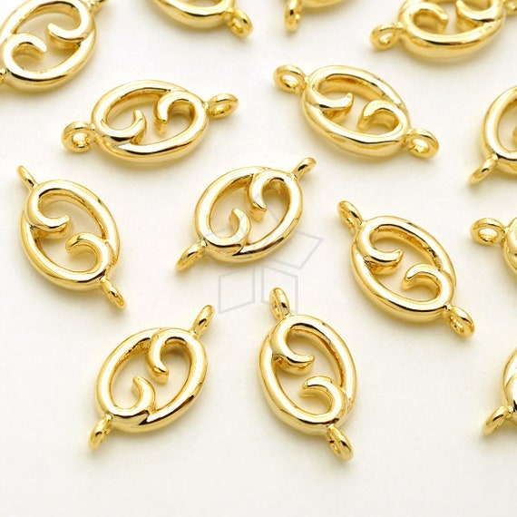 Tiny Mini CZ Crescent Charm Pendant Gold Plated over Brass  4.9mm x 8.8mm PD-1279-GD  2 Pcs Small Moon Pendant