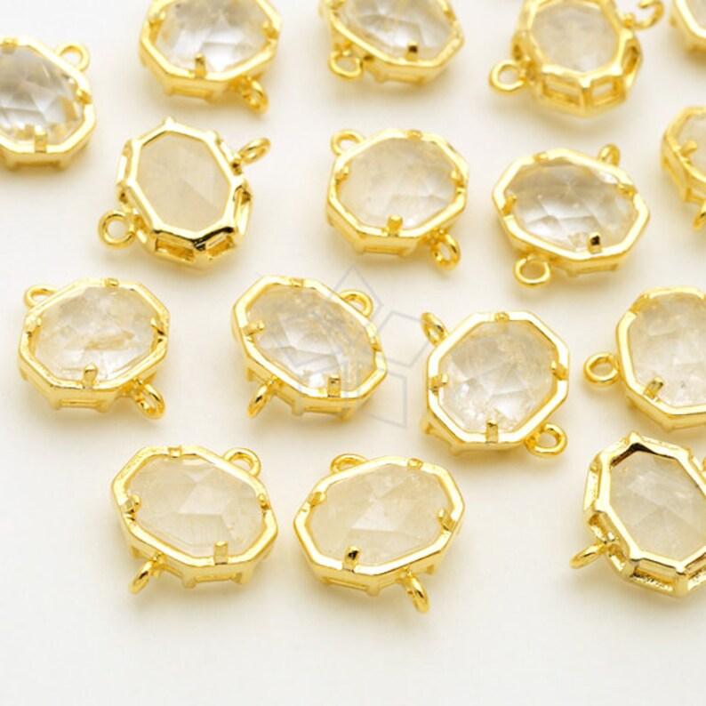 Faceted Octagonal Gemstone Connector Gold Plated Brass Bezel  9mm x 12mm PD-2705-GD  2 Pcs Octagonal Bezel Rock Crystal