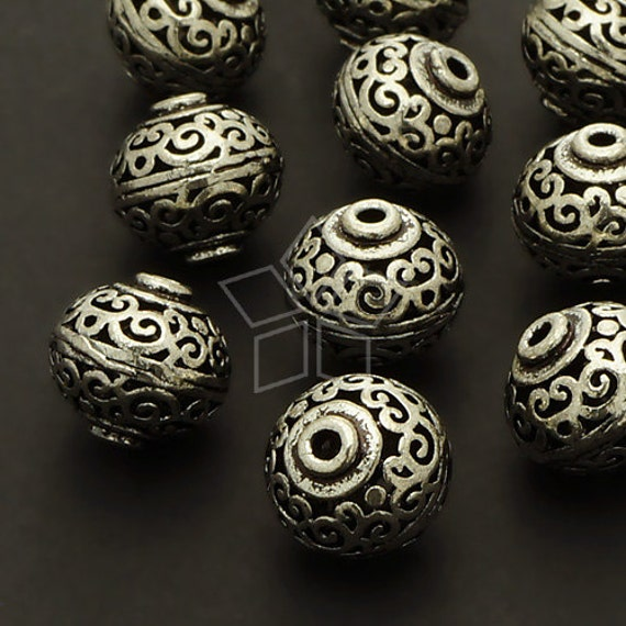 ME-138-AS / 2 Pcs - Hollow Carved Beads (Persian Pot), Vintage Bead Centerpiece, Antique Silver Plated over Brass / 12mm