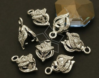 PS-034-OR / 4 Pcs - Blade Pinch Bail with CZ Stone Detail, Silver Plated over Brass / 6mm x 10mm