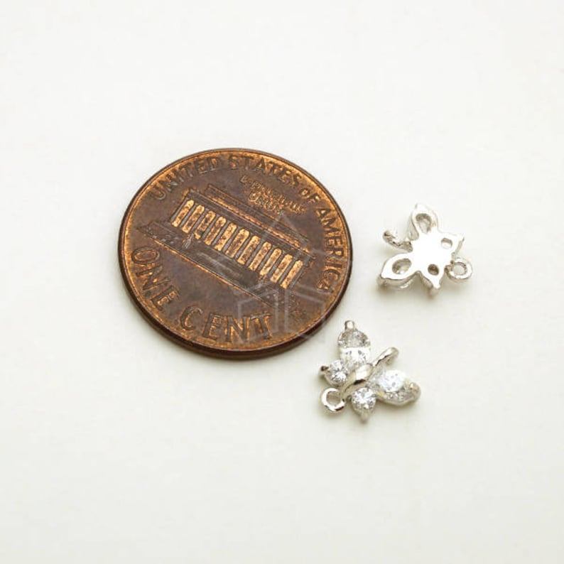 Silver Plated over Brass  8mm x 7.8mm Cute CZ Butterfly Charm Pendant PD-291-OR  2 Pcs Tiny Butterfly Connector