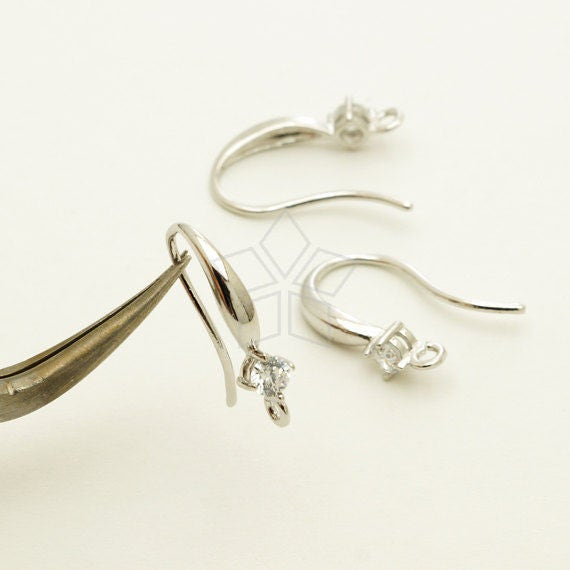 EA-215-OR / 4 Pcs - New CZ Simple Wave Hook Ear Wires, Single Cubic Stone Ear Hooks, Silver Plated over Brass / 16.5mm