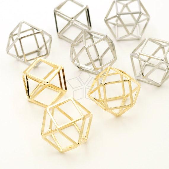 PD-927-OP / 2 Pcs - Polyhedron Ball Pendant, Geometric Structure Ball Charm, Chhose Color / 20mm