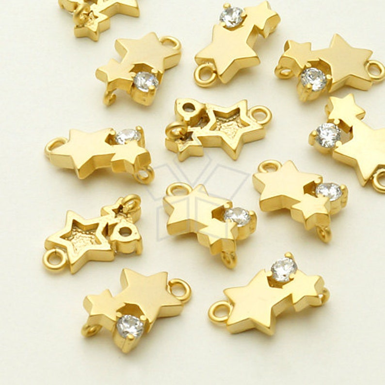 PD-781-MG  2 Pcs Tiny Stars CZ Pendant Stars Charm Matte Gold Plated over Brass  7.6mm x 11mm