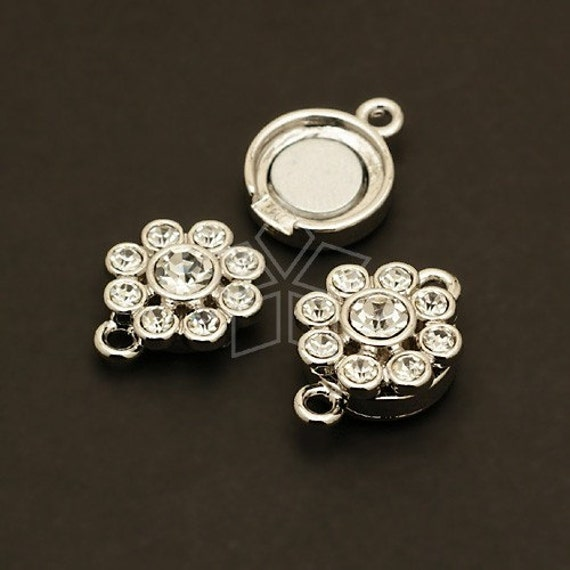 CS-009-OR / 2 Pcs - Flower Magnetic Clasp Connector for Bracelet, Silver Plated over Brass / 12mm