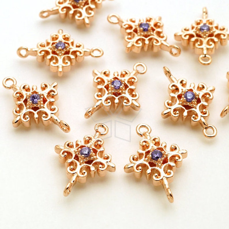 PD-2301-RG  2 Pcs Filigree Cross Connector Victorian Cross Charm Pendant Rose Gold Plated over Brass  10mm x 14mm Tanzanite