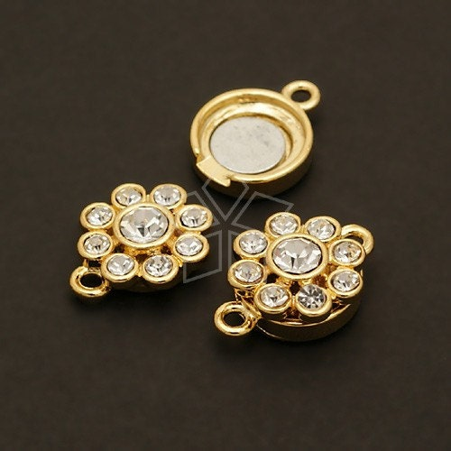 CS-010-GD / 2 Pcs - Flower Magnetic Clasp, Bracelet Connector Findings, 16K Gold Plated over Brass / 13mm