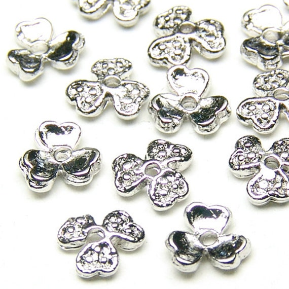 CP-020-OR / 30 Pcs - Mini Clover Bead Cap, Silver Plated over Brass / 4.7mm