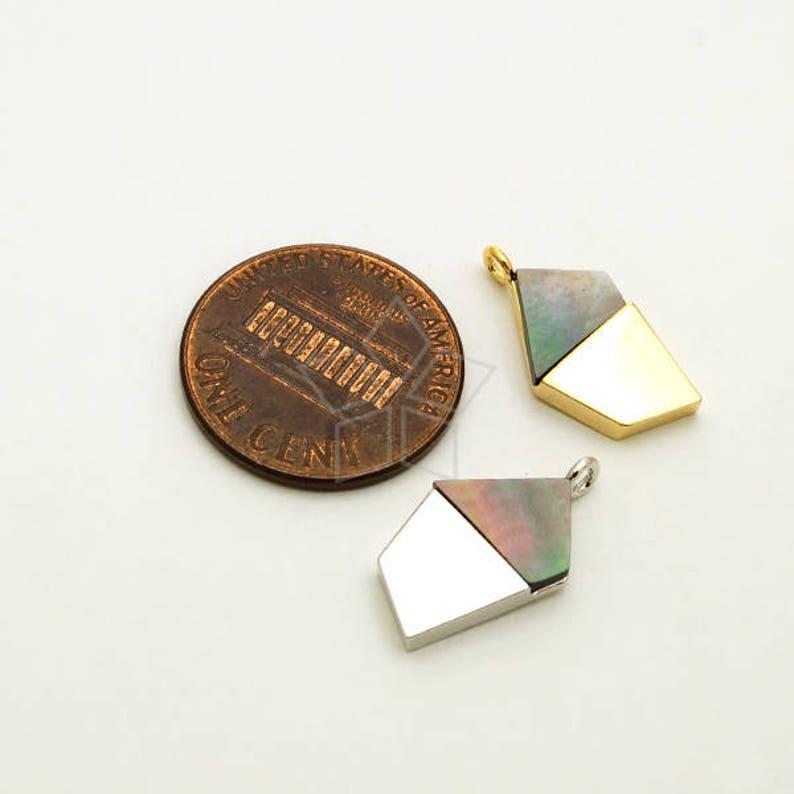 Small Pentagonal Geometric Pearl Shell Pendant Black MOP Shell Pendant Silver Plated Brass Frame  10mm x 18mm PD-2416-OR  1 Pcs