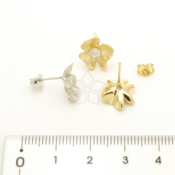925 Sterling Silver Post Choose Color  12mm x 12mm CZ Flower Ear Posts Sweet Flower Earrings SI-487-OP  2 Pcs