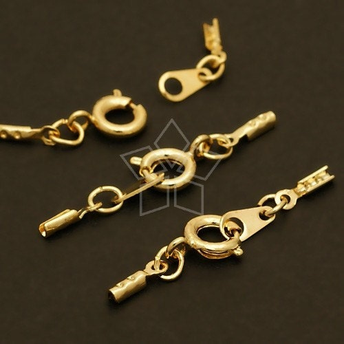 CS-028-GD / 20 Set - SR Clasp with Crimp Cord Ends, 16K Gold Plated over Brass